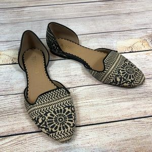 Restricted Aztec Black & Beige Pointy Flats 7.5